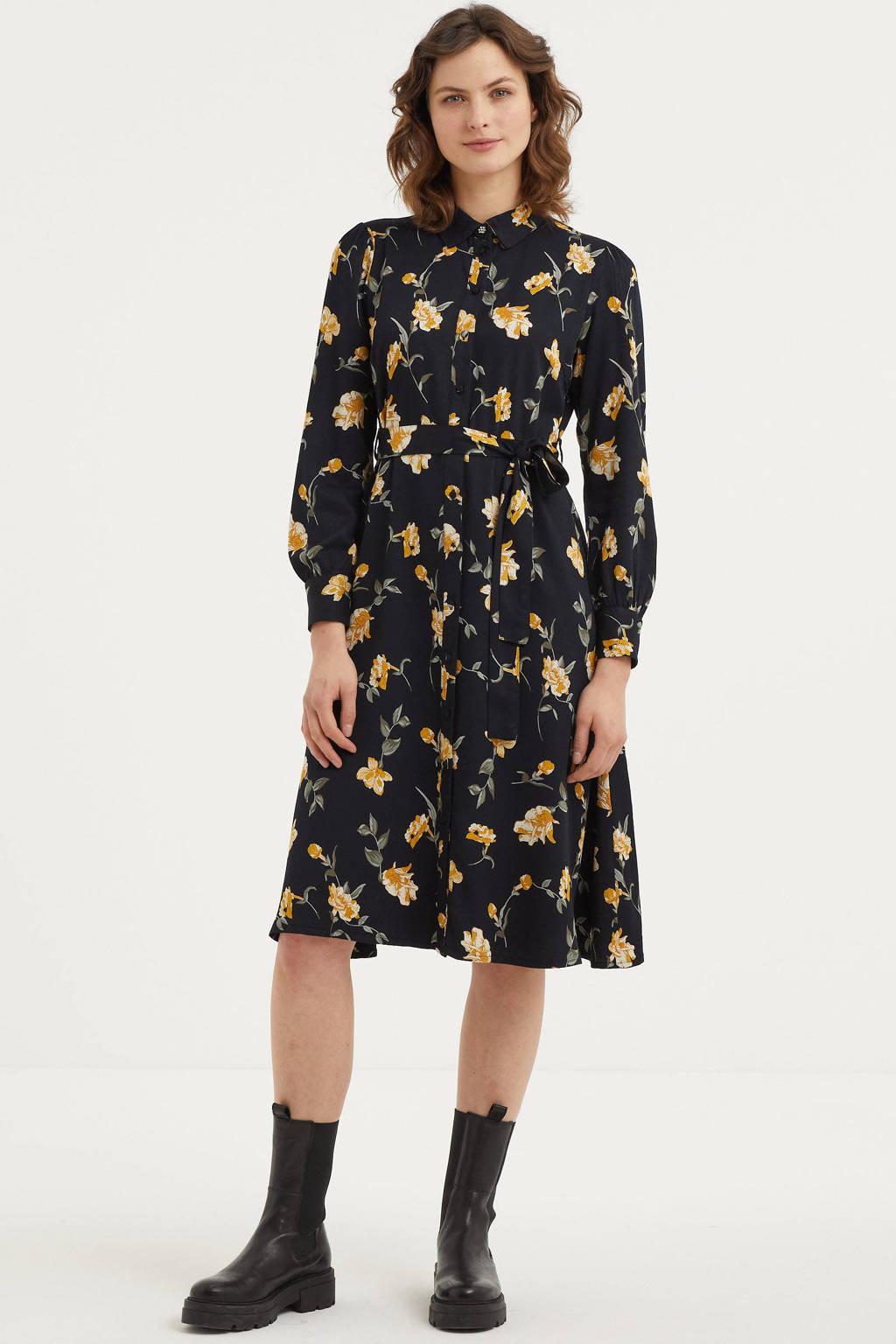 PIECES blousejurk met all over print zwart, Zwart