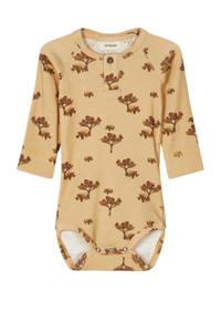 LIL' ATELIER BABY newborn baby longsleeve romper Geo lichtgeel/bruin, Lichtgeel/bruin