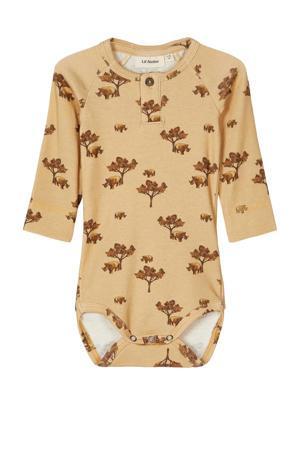newborn baby longsleeve romper Geo lichtgeel/bruin