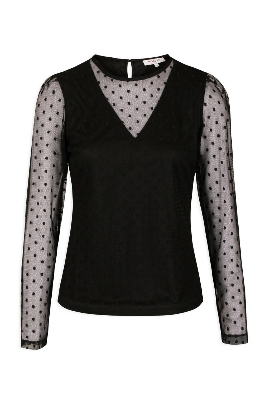 Morgan semi-transparante mesh top met stippen zwart, Zwart