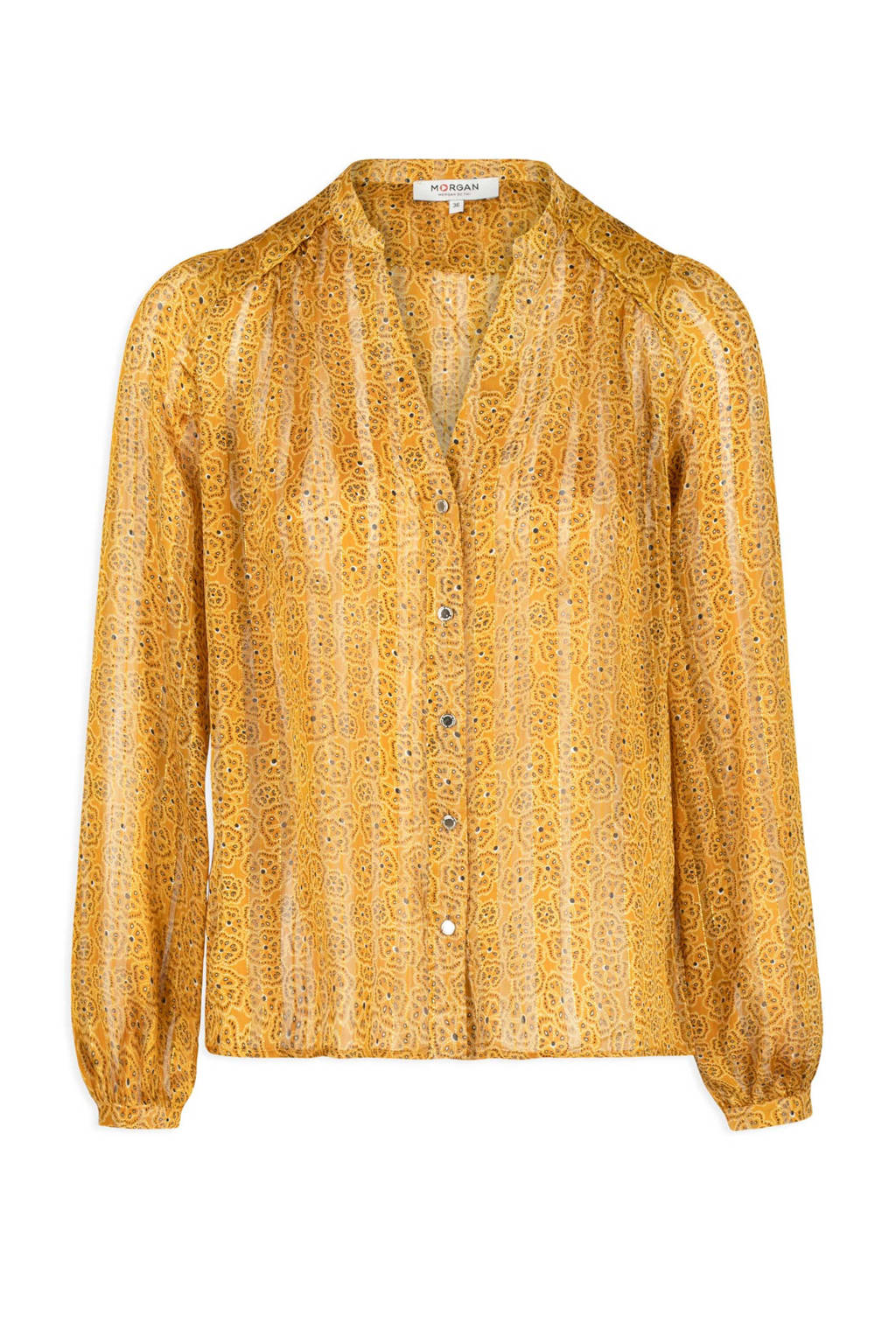 Morgan gebloemde semi-transparante blouse okergeel, Okergeel