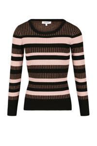 Morgan gestreepte fijngebreide trui zwart/ roze, Zwart/ roze