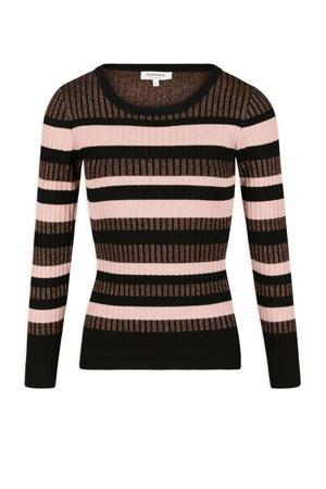 gestreepte fijngebreide trui zwart/ roze