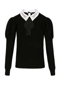 Morgan gebreide trui met sierstenen zwart, Zwart