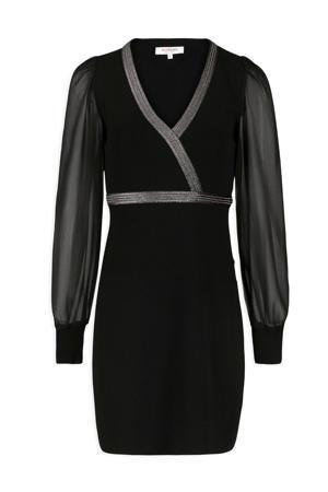 gebreide jurk met contrastbies en glitters zwart