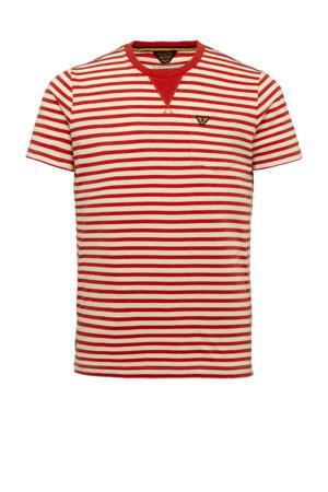 gestreept T-shirt rood/ecru