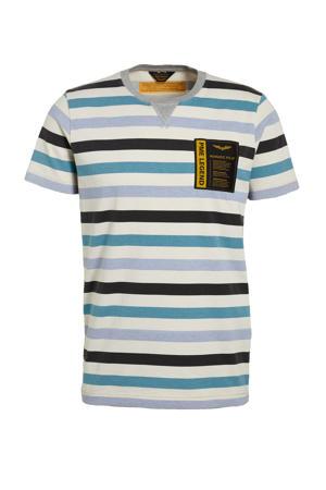 gestreept T-shirt blauw/ecru
