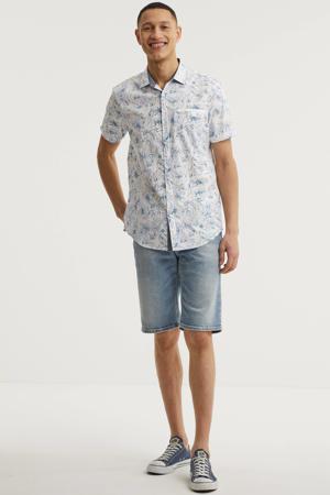 gebloemd regular fit overhemd wit/blauw