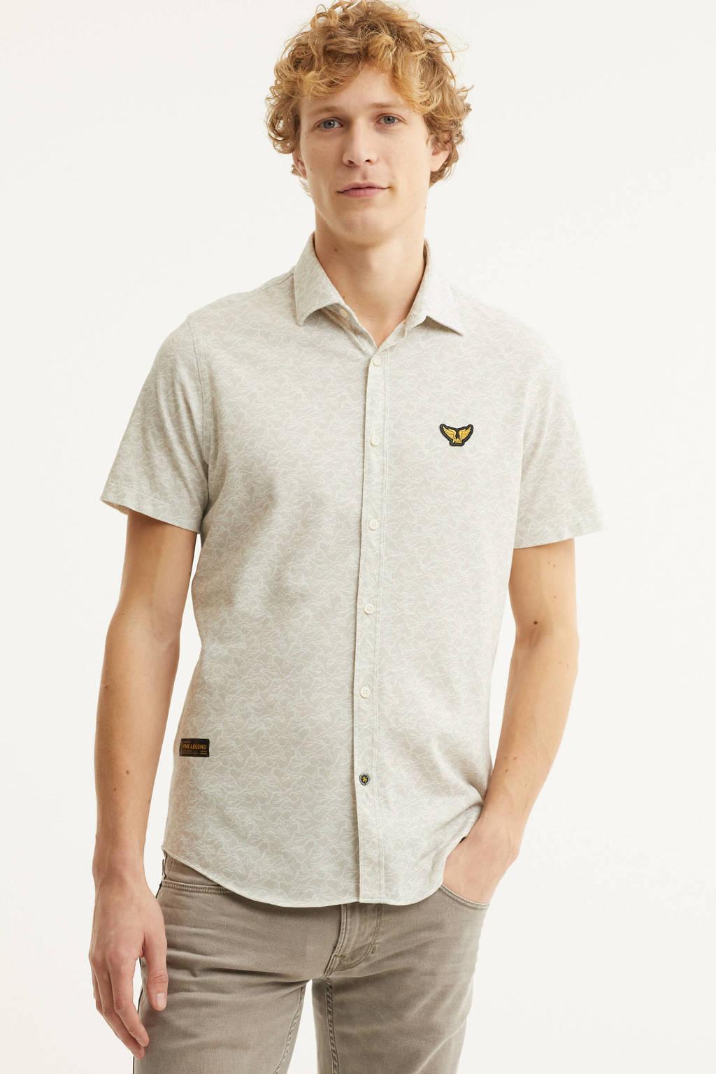 PME Legend regular fit overhemd met all over print beige, Beige