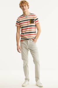 PME Legend gestreept T-shirt ecru/roze/rood, Ecru/roze/rood