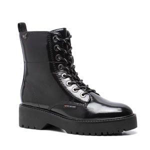Love Our Planet  vegan lak veterboots zwart
