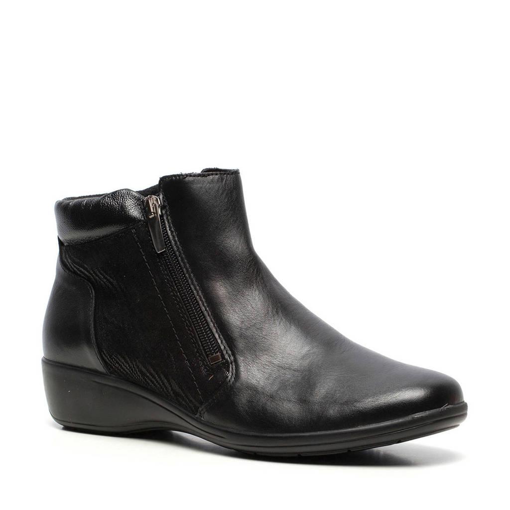Scapino Natuform  comfort leren enkellaarzen zwart, Zwart