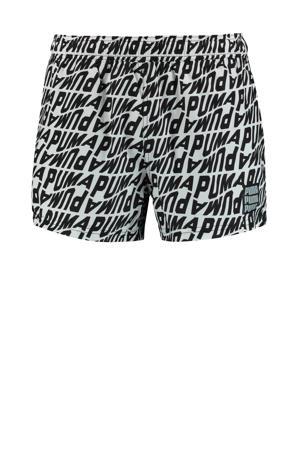 zwemshort met all over print zwart/wit