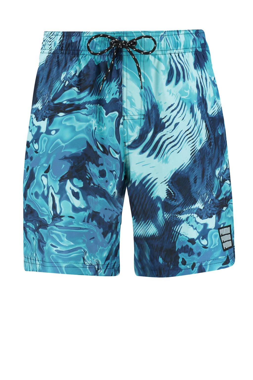Puma zwemshort met all over print blauw, Blauw