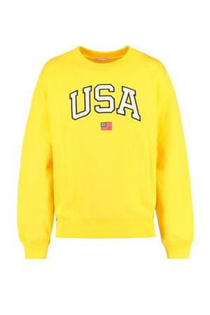 sweater Scarlett met tekst geel