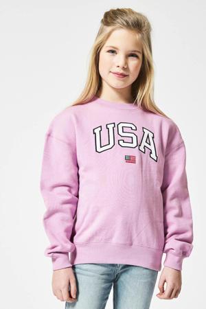 sweater Scarlett met tekst lila