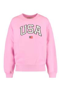America Today Junior sweater Scarlett met tekst lila, Lila