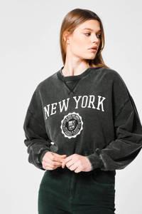 America Today cropped sweater Sarah met tekst washed grey, Washed grey