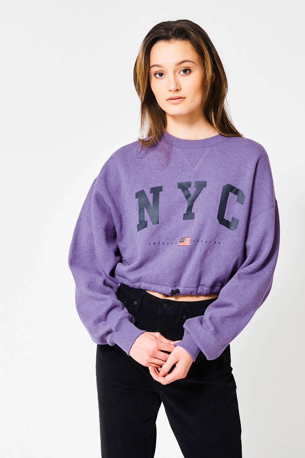 America Today cropped sweater Sarah met tekst paars, Paars