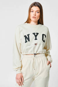 America Today cropped sweater Sarah met tekst cream, Cream