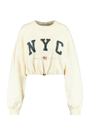 cropped sweater Sarah met tekst cream