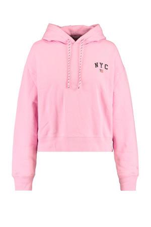 hoodie Suki met tekst roze