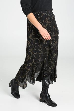 semi-transparante rok met all over print en volant zwart/goud