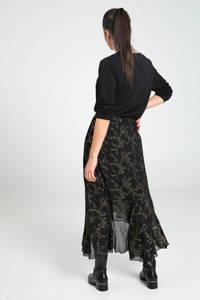 Cassis semi-transparante rok met all over print en volant zwart/goud, Zwart/goud