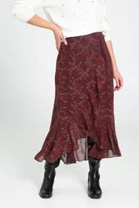 Cassis semi-transparante rok met all over print en volant donkerrood/zwart/goud, Donkerrood/zwart/goud