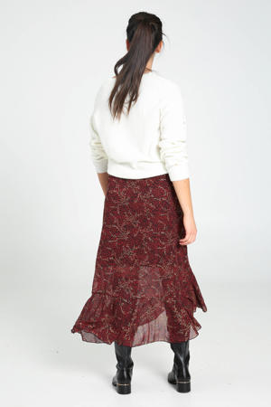 semi-transparante rok met all over print en volant donkerrood/zwart/goud