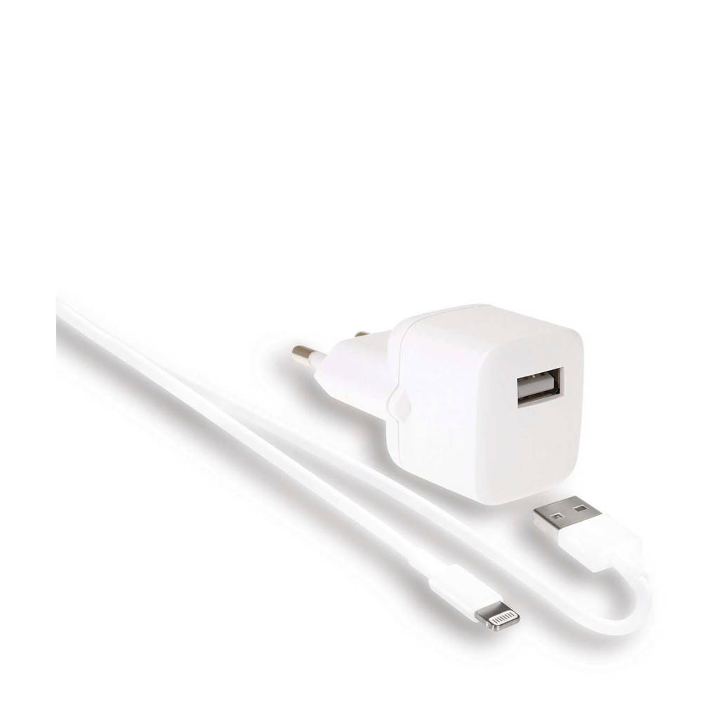 WeFix USB-A wandlader en oplaadkabel (1m), Wit