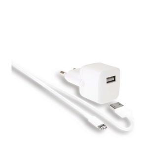 2.4A USB-A wandlader en oplaadkabel (1m)