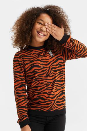 sweater met zebraprint oranjebruin/zwart