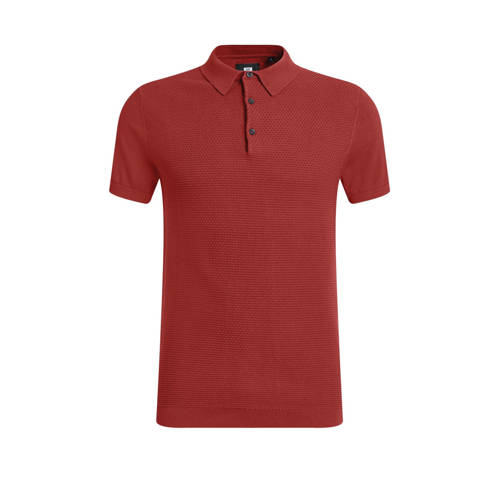 WE Fashion slim fit polo met textuur bloody mary