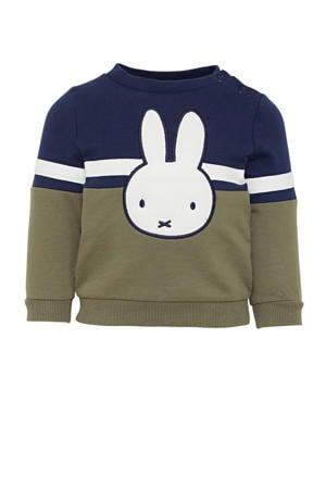 nijntje sweater donkerblauw/olijfgroen/wit