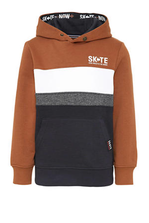 hoodie bruin/wit/antraciet