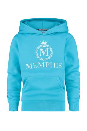 hoodie Nomani met logo helder blauw