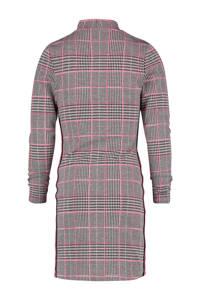 Vingino geruite jurk Pendin met contrastbies roze/grijs, Roze/grijs