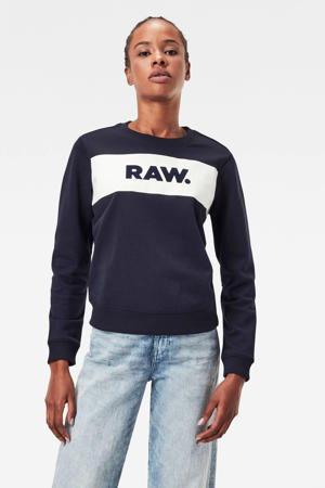 regular fit sweater met logo blauw/wit