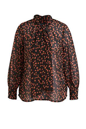 semi-transparante top met all over print zwart/oranje