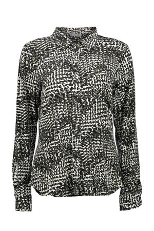 blouse met all over print wit/zwart/olijfgroen