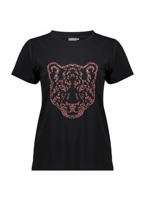 T-shirt met printopdruk zwart/rood/wit