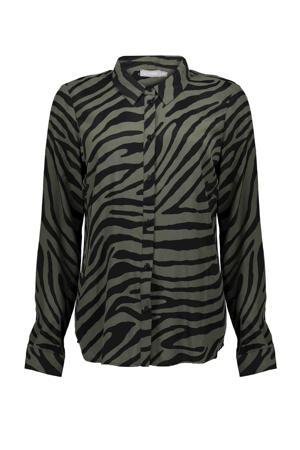 blouse met zebraprint olijfgroen/zwart