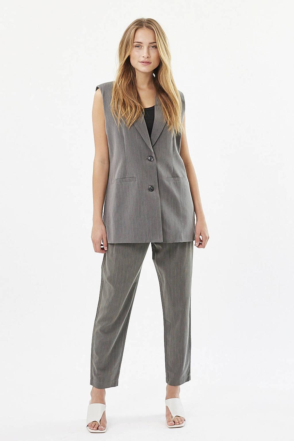 Moves cropped high waist pantalon Nimalli met krijtstreep grijs melange, Grijs melange