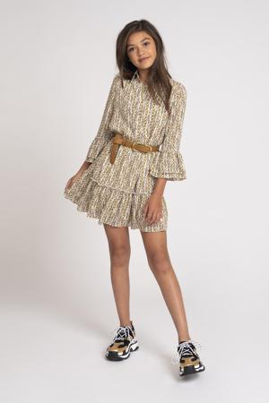A-lijn jurk Tory met all over print en ruches ecru/zand