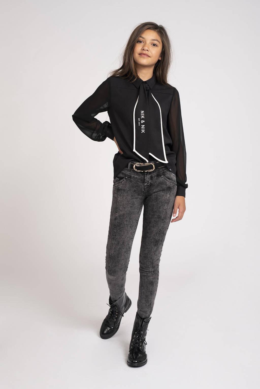 NIK&NIK semi-transparante blouse Octavia van gerecycled polyester zwart, Zwart