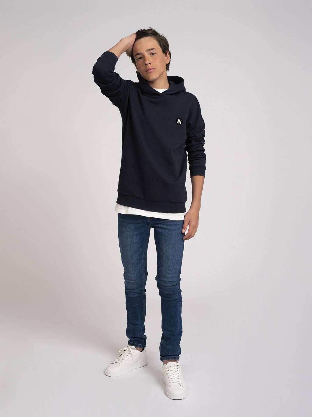 NIK&NIK hoodie Mazin met logo donkerblauw, Donkerblauw