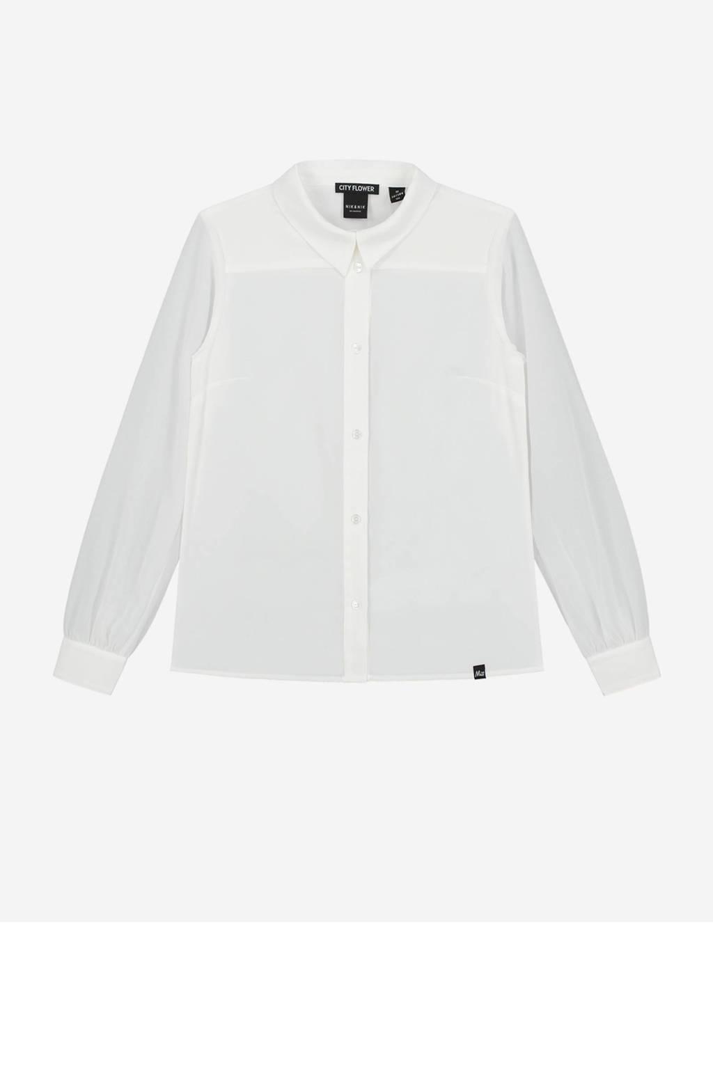 NIK&NIK blouse Octavia met strik van gerecycled polyester off white, Off White