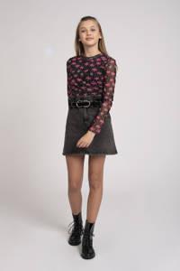NIK&NIK gebloemde semi-transparante top Felicity zwart/roze, Zwart/roze