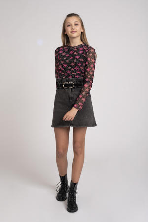 gebloemde semi-transparante top Felicity zwart/roze